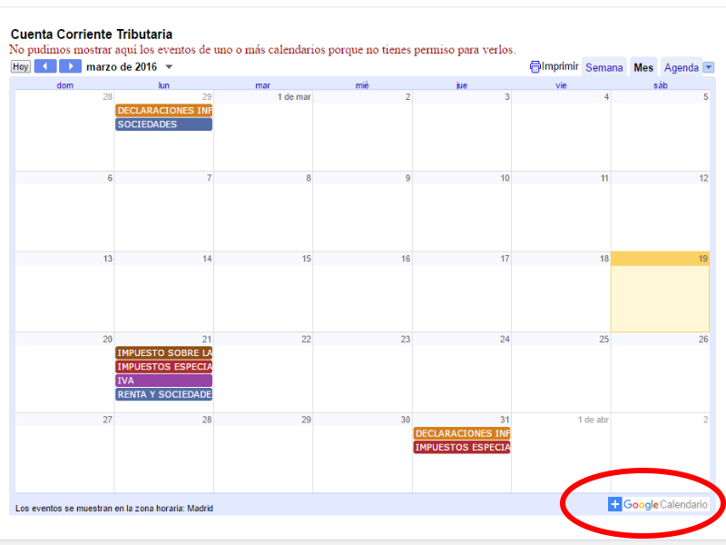 Calendario oficial contribuyente 2016 Google calendar