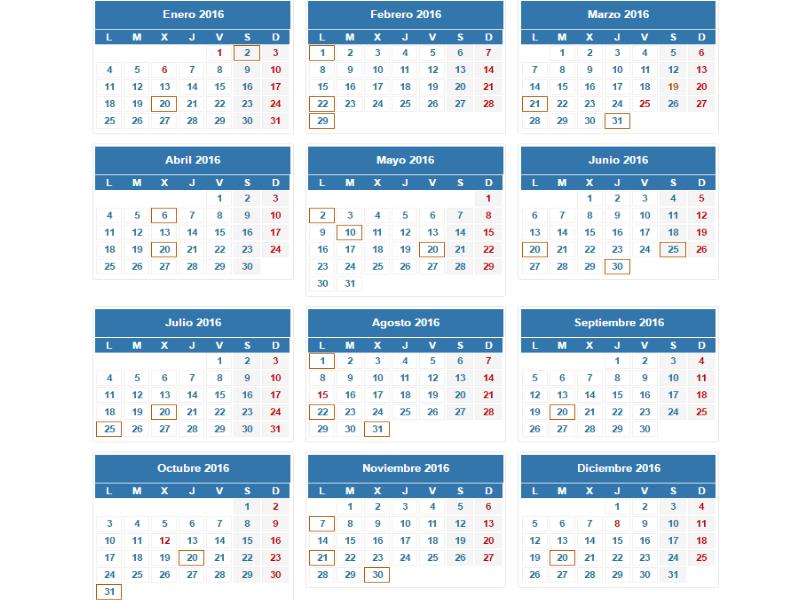 Calendario oficial contribuyente 2016
